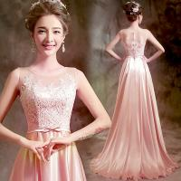 Pink Lace And Satin Sleeveless Slim Waist Gorgeous Evening Dress TSJY128 Manufactures
