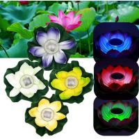 Multi-Color RGB Garden Pool Floating Lotus Solar Powered LED lamp Flower Night Light Fountain Pond Solar Lighting Manufactures