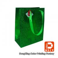 Quality Matt Lamination Green Paper Gift Bags , Christmas Paper Gift Packaging Bags for sale
