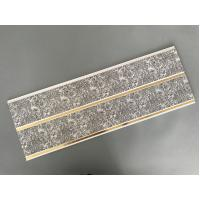 Dark Gray Printing PVC Wall Panels With Golden Lines Recyclable Material Manufactures