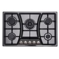 Buy cheap Built In Black 5 Ring Gas Hob Stainless Steel With Cast Iron Pan Supports from wholesalers