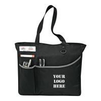 Quality Recycled Custom Black Polyester Tote Bags Logo Printed For Travel for sale