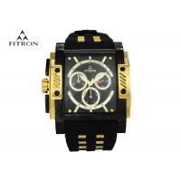 Large Face Mens Watches , Rectangular Black And Gold Wrist Watch Anti Scratch Manufactures