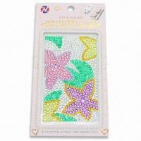 Mobile Phone Sticker, Made of Acrylic Beads without Glue, Measures 6.1 x 3.2x 0.1-inch Manufactures