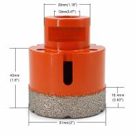 Vacuum Brazed Diamond Core Drill Bit 2 Inch Diameter For Concrete / Granite Manufactures