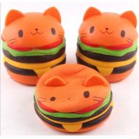 Cute Bread Jumbo Cat Head Burger Soft PU Stress Relief Slow Rising Squishy Scented Toys For Kids / Adults Manufactures