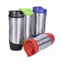 Travel Mug, Made of Stainless Steel and PP for Inner, with Food Safe Grade Manufactures