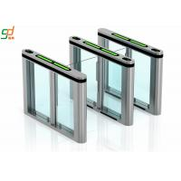 Glass Arm Supermarket Swing Gate Turnstile , Slimlane Barriers Access Control Manufactures