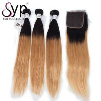 2T Two Tone 1B / 27 Color Ombre Straight Hair Double Drawn Full Cuticle Aligned Manufactures