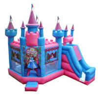 Blue / Pink Princess Inflatable Bouncy Castle 0.45 + 0.55MM PVC Tarpaulin Manufactures