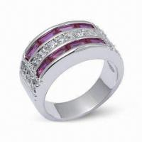925 Sterling Silver Ring with CZ and Rhodium Plating Manufactures