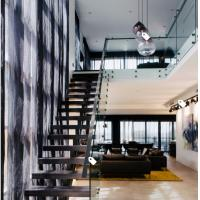 European classic stair black wood steel staircase with patch fitting glass railing Manufactures