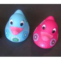Soft Pad Painting Mini Rubber Ducks Baby Shower With Flower Painting / 10cm Length Manufactures