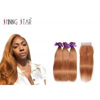 Gold Blonde 100% Peruvian Straight Hair Bundles Colored 30 Double Weft Cheap Manufactures