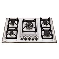Glass Top / Stainelss Steel Kitchen Gas Hobs 5 Burner With Anto Pulse Ignition Manufactures