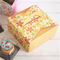 Customized Take Away Cake Cardboard Boxes Folding With Handle Full Color Printing Manufactures