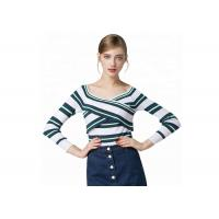 Sexy Lady Cozy Knit Sweater Long Sleeve V Collar Pullover With Striped Pattern Manufactures
