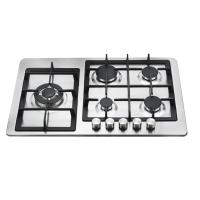 Auto Ignition 5 Burner Gas Cooker With Stainless Steel Panel 760mm Length Manufactures