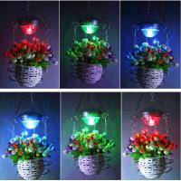 Quality Stainless Steel Flower Hanging Basket With Solar LED Light RGB Color Changing Wind Bell Lamp Red Green Blue LED Color for sale