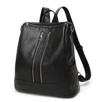 Casual Womens Black Leather Backpack Multi Functional For Teenage Girls Manufactures