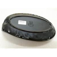 Quality Length 25cm Weight 384g Porcelain Dinnerware Sets Boat-shape Black Melamine Plate for sale