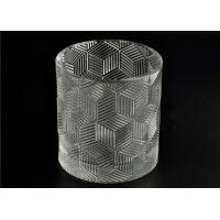 Contemporary Glass Candle Holder Transparent With Embossed Pattern Manufactures