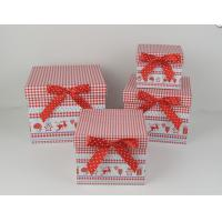 Square Cardboard Gift Storage Boxes CMYK Printing With Red Ribbon Manufactures