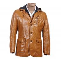 Custom Stylish, OEM service, Black / Coffee Urban Hooded PU Leather Coat for Men Manufactures