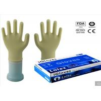 Milky White Color Disposable Medical Gloves 240mm / 9 Inch Length Low Protein Content Manufactures