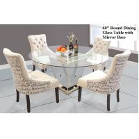 Modern Round Mirrored Dining Table 60 Inches Tempered Glass Table Top Manufactures