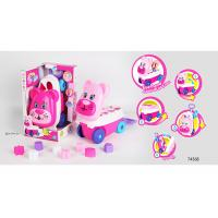 Pink Building Blocks Educational Toys For Kids Age 3 Years / Animal Trolley Cart for sale
