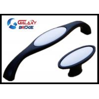 Black /  Ivory White Ceramic Handles And Knobs Porcelain Wardrobe handles ISO Certified Closet Door Pull Manufactures