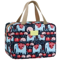 Leak Proof Floral And Elephant Cosmetic Toiletry Bag For Girls Manufactures