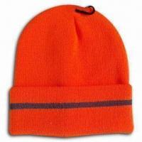 Buy cheap Knitted Beanie Hat with 3M Fluorescence Stripe, Made of Acrylic from wholesalers