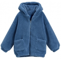 Womens Autumn Winter DTM Hooded Open Front Lamb Wool Coat Manufactures