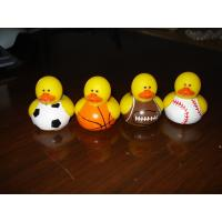 Tiny Assorted Sports Themed Rubber Ducks With Football / Baseball / Basketball Design Manufactures
