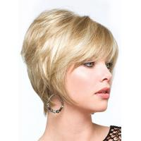 Stylish Dapper Short Rocker Hairstyle Fashionable Straight Blonde Wig with Special Layered Hair Cut Manufactures