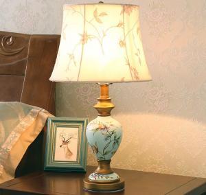 China Resin vase base fabric lampshade soft light elegance Bedside table lamp LX107 on sale