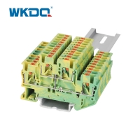 Easily Inserted Electrical Terminal Block Yellow and Green Durable Wire Connector Block Manufactures