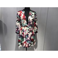 Sexy Womens Floral Blouse , Floral Summer Dresses Deep V Neck BGW008 Manufactures