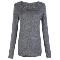 Gray Round Neck ladies Wool cable knit sweater in  XS S M L XL Size Manufactures