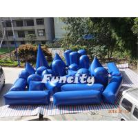 Blue Inflatable Sport Games 27PC Paintball Bunker Silk Printing Manufactures