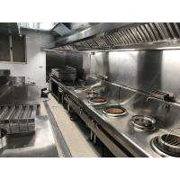 2500 x 1200 x 580mm Stainless Steel Catering Equipment Exhaust Hood Against Wall Type Manufactures