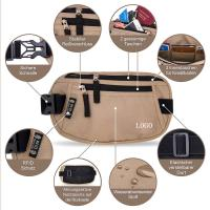 Light Brown Waist RFID Travel Bags Wallet  for Passport / Cash / Sport Manufactures