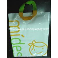 Quality White Plastic Gift Bags With Custom Logo / Loop Handle Polythene Bags For Promotion for sale