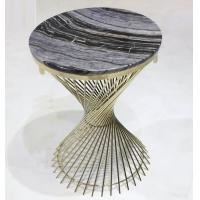 stone top Brass stainless steel metal side table/End table/coffee table/C table, hotel furniture,casegoodsTA-0089 Manufactures