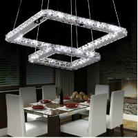 Quality Square Crystal Hanging Lights For Indoor Home Kitchen Bedroom Stainless Steel for sale