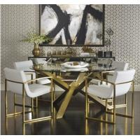 Quality Gold Round Glass Dining Table , Stainless Steel Base Dining Table With Glass Top for sale