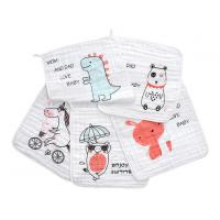 Square Face Organic Cotton Muslin Washing Cloth With Print In 6 Layers Manufactures