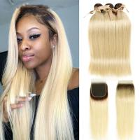 1b/613 Brazilian Straight Hair Weave Bundles With Closure Golden Color Manufactures